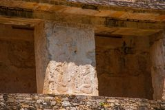 Ancient bas-relief carving Maya people at the Palenque ruinas Chiapas Mexico. The famous archaeological complex royalty free stock photo