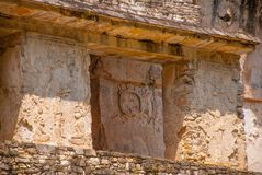 Ancient bas-relief carving Maya people at the Palenque ruinas Chiapas Mexico. The famous archaeological complex stock photos