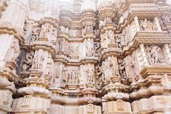 Ancient bas-relief at famous erotic temple in Khajuraho, India. Stock Photography