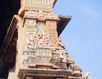 Ancient bas-relief at famous erotic temple in Khajuraho, India. Unesco World Heritage Site stock photo