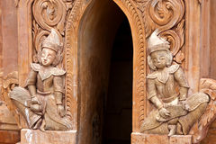 Ancient bas-relief at famous Takhaung Mwetaw pagoda, Myanmar Royalty Free Stock Image