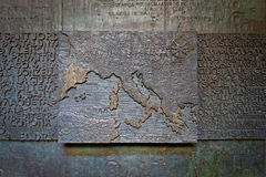 Ancient bas-relief with the map of Europe and the Mediterranean Stock Photos