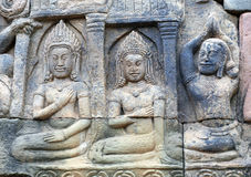Ancient bas-relief at the Terrace of the Elephants in Angkor, Ca Royalty Free Stock Images