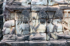 Ancient bas-relief at the Terrace of the Elephants in Angkor Tho Royalty Free Stock Image
