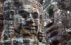 Ancient bas-relief at the Upper terrace of Prasat Bayon, Cambodi Royalty Free Stock Image