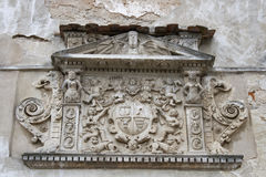 Ancient bas-relief on the wall of Olesko castle Stock Images