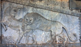 Ancient bas-reliefs of Persepolis, Iran Royalty Free Stock Photography