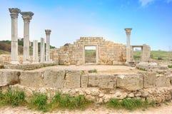 Ancient basilica columns of Creek colony Chersonesos. Sevastopol, Crimea, Ukraine Royalty Free Stock Photography
