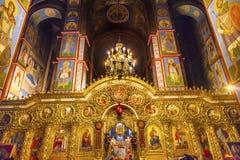 Ancient Basilica Saint Michael Monastery Cathedral Kiev Ukraine. Ancient Mosaics Golden Screen Icons  Basilica Saint Michael Monastery Cathedral Kiev Ukraine Stock Photo