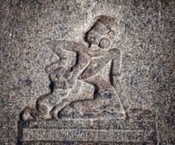 Ancient basrelief in Hampi Stock Photos
