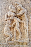 Ancient basrelief of hindu deities in Achyutaraya Temple Royalty Free Stock Photography