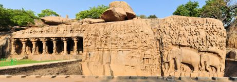Ancient basreliefs in Mamallapuram, Tamil Nadu Royalty Free Stock Images