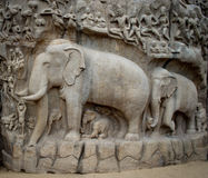 Ancient basreliefs  and statues   in Mamallapuram Stock Photography