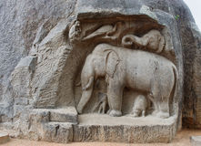 Ancient basreliefs  and statues   in Mamallapuram Stock Photos