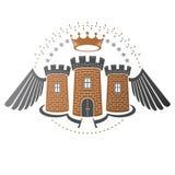 Ancient Bastion emblem. Heraldic vector design element. Retro st Royalty Free Stock Photo