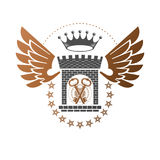 Ancient Bastion emblem. Heraldic vector design element. Retro st Stock Photos