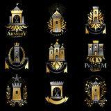 Ancient Bastions emblems set. Heraldic vector design elements co Royalty Free Stock Photography