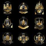 Ancient Bastions emblems set. Heraldic vector design elements co Stock Photos