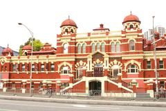 Ancient bath house with seperate entrances for men and women, Melbourne, Australia. Ancient bath house in Victorian style with separate entrances for men and Royalty Free Stock Images