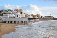 Ancient baths at the beach of Cadiz, Spain Stock Photography