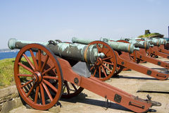 Ancient battle cannons Royalty Free Stock Photography