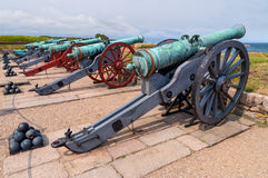 Ancient battle cannons Royalty Free Stock Photo