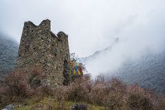 Ancient battle ruin in Tibetan valley Royalty Free Stock Photos