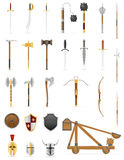 Ancient battle weapons set icons stock vector illustration. Isolated on white background Royalty Free Stock Image