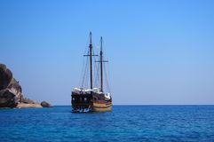 Ancient Pirate battleship at Similan islands with stunning scenery Stock Photo