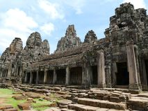 Ancient Bayon temple. Angkor Thom , the most popular tourist attraction in Siem reap, Cambodia Stock Photos