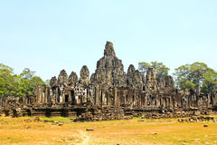 Ancient Bayon temple, Angkor Thom. The most popular tourist attraction in Siem reap, Cambodia Royalty Free Stock Images