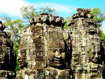 Ancient Bayon Temple in Siem Reap in Cambodia, Asia stock photography