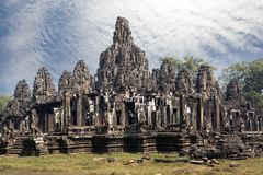 Ancient Bayon Temple 12th century  At Angkor Wat, Siem Reap, Cambodia.  Stock Photo