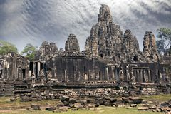 Ancient Bayon Temple 12th century  At Angkor Wat, Siem Reap, Cambodia.  Stock Image