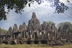Ancient Bayon Temple 12th century  At Angkor Wat, Siem Reap, Cambodia.  Stock Photography