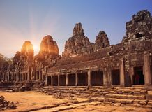 Ancient Bayon Temple 12th century At Angkor Wat, Siem Reap, Cambodia.  Stock Images