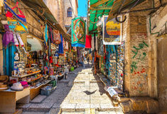 Ancient bazaar in Old City of Jerusalem. Stock Photo