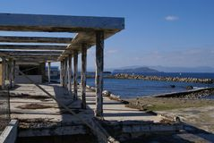 Ancient beach patio in Chania, Greece. Stock Image
