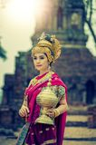 Ancient asian woman wear traditionnel thai dress, Thailand style stock image