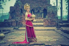 Ancient asian woman wear traditionnel thai dress, Thailand style royalty free stock photography
