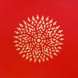 Ancient beautiful  gold flower painting on Thai temple red wall, Royalty Free Stock Photos