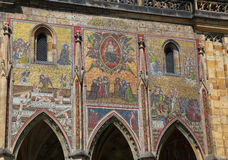 ancient beautiful mosaic in the outer wall of St Vitus cathedral Stock Photo
