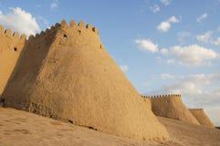 The ancient and beautiful walls of Khiva. Uzbekistan Royalty Free Stock Image