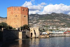 Free Ancient Bedesten Alanya Fortress Main Tower View Stock Photos - 181521643