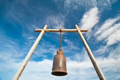 Ancient bell on the mountain with blue sky Royalty Free Stock Photos