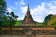 Ancient Bell-Shaped Sri Lanka Style Buddhist Stupa Ruins of Wat Chedi Ngam in Sukhothai, Thailand in Summer Stock Photography