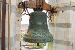 Ancient bell at the top of Leaning Tower in Pisa, Italy. Ancient bell at the top of Leaning Tower. Pisa, Italy Royalty Free Stock Images