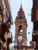 Ancient bell tower in the center of Palermo, Italy Royalty Free Stock Images