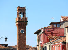 ancient bell tower on the island of Murano near Venice Stock Photo