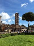 Ancient bell-tower in Rome. Mouth of Truth. Italy Royalty Free Stock Photos